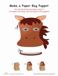 horse paper bag puppet worksheet education com