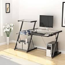 Metal And Glass Computer Desk Z Line Designs Nero Modern Metal And Glass Desk And Bookcase Zl2021dbu