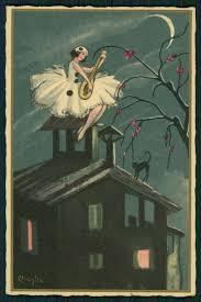 halloween art prints art chiostri pierrot lady moon serenade original old 1920s