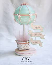 air cake topper hot air balloon flag centerpiece in and mint birthday