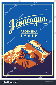 aconcagua andes argentina outdoor adventure poster stock vector