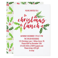 christmas lunch invitation watercolor christmas lunch card zazzle