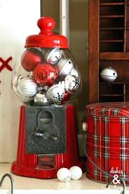 gumball machine with ornaments rustic