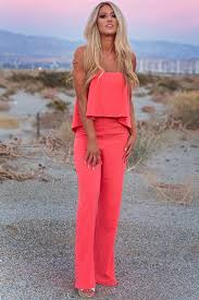 jumpsuit in what a jumpsuit in neon coral impressions boutique