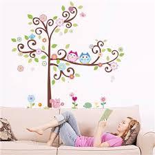 stickers fille chambre sticker hiboux sur arbre en fleurs stickers chambre fille
