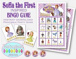 sofia inspired bingo game digital printable party