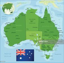 Tasmania Flag Green Map Of Australia States Cities And Flag Vector Art Getty