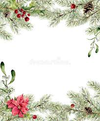 New Year Tree Decoration watercolor christmas invitation fir branch with holly mistletoe