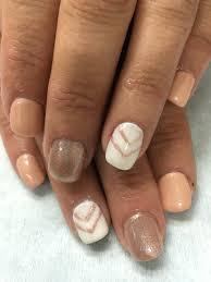 custom created shimmer rose gold u0026 white w chevron gel