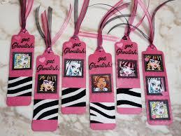 Home Made Party Decorations Monster High Bookmarks Party Favors Made With The Pti Bookmark