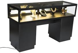 Lockable Desk Lockable Jewelry Display Case Black With Tempered Glass Cabinet