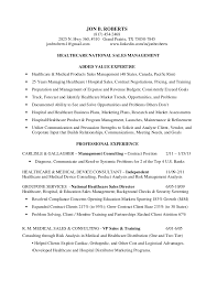 Medical Sales Resume Sample by Resume Roberts Jon B Healthcare National Sales Management
