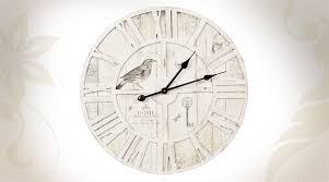 Horloge Murale Ronde Blanche Avec Horloge Murale Ronde En Bois Coloris Blanc Vieilli