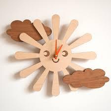wooden happy sun clock kids nursery clock sun от graphicspaceswood