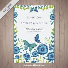 invitation card template with flowers and butterflies vector