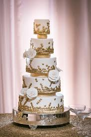 Cakes U0026 Desserts Photos 5 Tier White And Gold Cake Eclectic