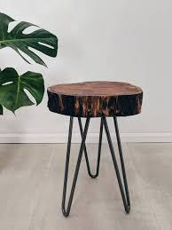 tree trunk bedside table log slice plant stand känd tree wood slab table tree trunk