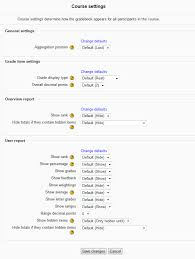 changing the course grade settings for the user report in moodle