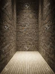 interior room with stone wall and wooden floor stock photo