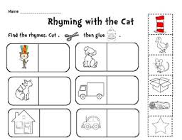rhyming with the cat cut and paste activity by creative classroom