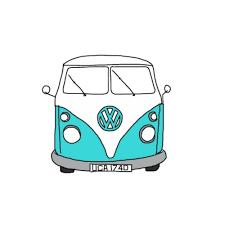 volkswagen van drawing hippie van