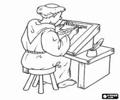 Coloriage Moine médiéval avec un parchemin à imprimer