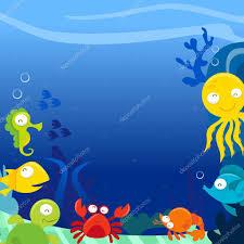 happy silly cute sea animals underwater square copy space u2014 stock