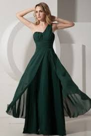 shoulder chiffon prom formal dress floor length in dark green
