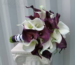 calla bouquet calla wedding bouquet plum white real touch wedding flowers