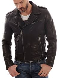biker jacket men men real lambskin leather jacket km009 koza leathers