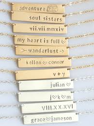 Gold Name Plated Necklace Personalized Bar Necklace Custom Name Plate Necklace Gold