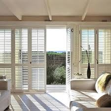 Bypass Shutters For Patio Doors Plantation Shutter For Sliding Doors Budget Blinds White