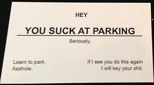offensive business cards you at parking offensive business cards sided