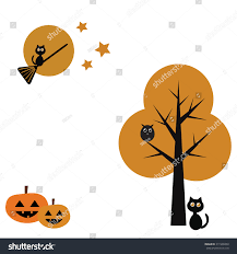 halloween background black cats halloween cute black cat pumpkin broomstick stock vector 311909450