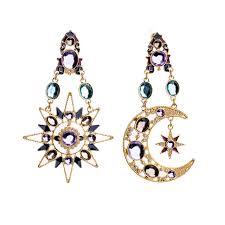 Chandelier Earrings India Hanging Asymmetric Moon Chandelier Earrings From