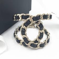 gold chain leather bracelet images Brand new chanel gold chain black leather bracelet cuff lar vintage jpg