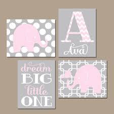 elephant nursery art pink gray elephant nursery wall