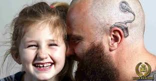 weave hair how in fife deaf got implant cochlear dad gets cochlear implant tattooed on his shaved head to support