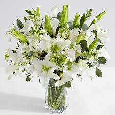 white lillies premium sympathy bouquet