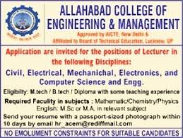 Resume For Lecturer In Engineering College Jobs In Allahabad College Of Engineering And Management Vacancies