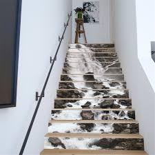 13pcs 3d waterfall stair risers decor photo mural decal wallpaper