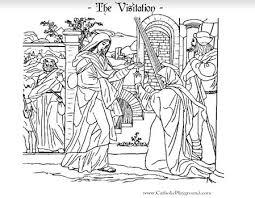 free printable coloring mary virgin visiting elizabeth