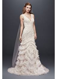 extra length v plunge gown with tiered tulle skirt david u0027s bridal