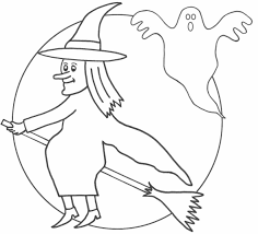 witch coloring page on broom with black cat coloring page