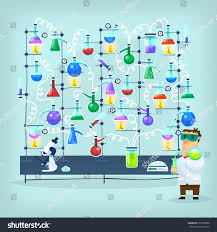 his and flasks poster biochemist conducting experiment his laboratory stock