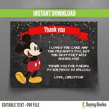 mickey mouse thank you cards disney chalkboard style mickey mouse birthday thank you cards