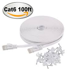 150 Meters Into Feet by Amazon Com Cat 6 Flat Ethernet Cable 100 Ft White With Cable