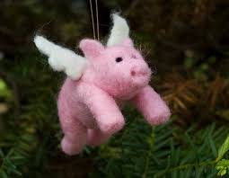 needle felted pigasus ornament flying pig by scratchcraft on
