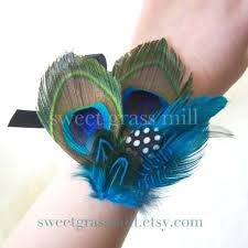 Teal Corsage Peacock Corsage Avec Mer Peacock Teal Turquoise Polka Dot