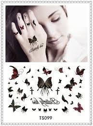 yeeech temporary tattoos sticker butterfly cross design
